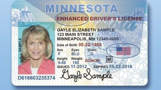 This undated courtesy photo show how a Minnesota state driver's license would be enhanced to meet federal guidelines. Real ID is the federal standard for state driver's licenses and other identification, which in 2018 will be required for Americans to board airplanes. (Courtesy of Minnesota Department of Public Safety)