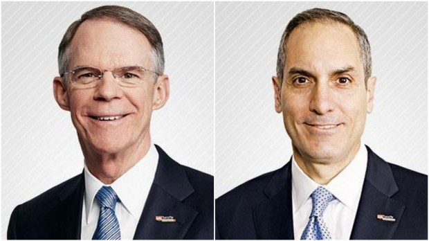 Richard Davis, left, is stepping down from the chief executive's job at U.S. Bancorp and will be replaced by Andrew Cecere, right, the firm's president and chief operating officer, the bank said Tuesday, Jan. 17, 2017. (Photos courtesy U.S. Bancorp)
