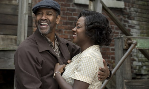 """This image released by Paramount Pictures shows Denzel Washington, left, and Viola Davis in a scene from, """"Fences."""" The film was nominated for an Oscar for best picture on Tuesday, Jan. 24, 2017. The 89th Academy Awards will take place on Feb. 26. (David Lee/Paramount Pictures via AP)"""