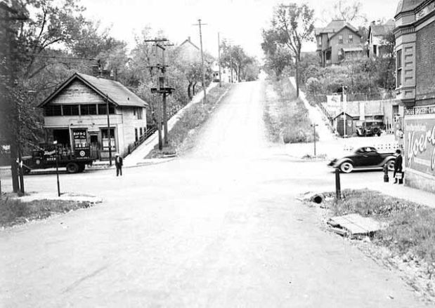 This 1940 photograph shows the view, looking south from Arundel Street in St. Paul (the foreground is now Interstate 94). (Minnesota Historical Society)