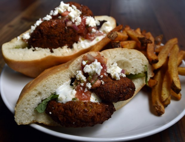 The curried falafel sandwich at Augustine's Bar and Bakery, 1668 Selby Ave. in St. Paul, is shown on Tuesday, Jan 10, 2017. (Pioneer Press: John Autey)
