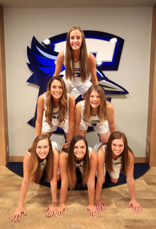 Pictured on Aug. 30, 2016 are all six Minnesota natives currently on Creighton's women's basketball roster. Bottom: Kylie Brown (from left), Bailey Norby and Ali Greene. Middle: Sydney Lamberty and MC McGrory. Top: Marissa Janning. Photo courtesy of Creighton University: Dave Weaver.