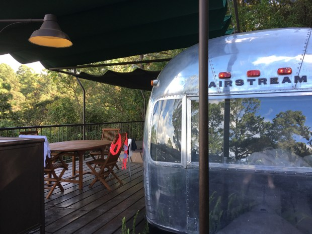 A two-bedroom Airstream trailer atop a hill overlooks the colonial city of Antigua. (Courtesy of Susan Maas)