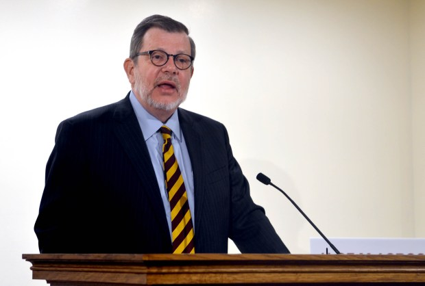University of Minnesota President Eric Kaler detailed the university's $1.4 billion two-year budget request at a Capitol press conference Tuesday, Jan. 10, 2017. Pioneer Press: Christopher Magan)