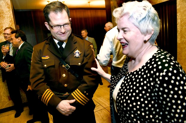 After being sworn in as Ramsey County Sheriff, Jack Serier was congratulated by Victoria Reinhardt, Ramsey County Commissioner and Chair, at a reception held Jan. 10, 2017, in St. Paul City Hall. (Pioneer Press: Scott Takushi)