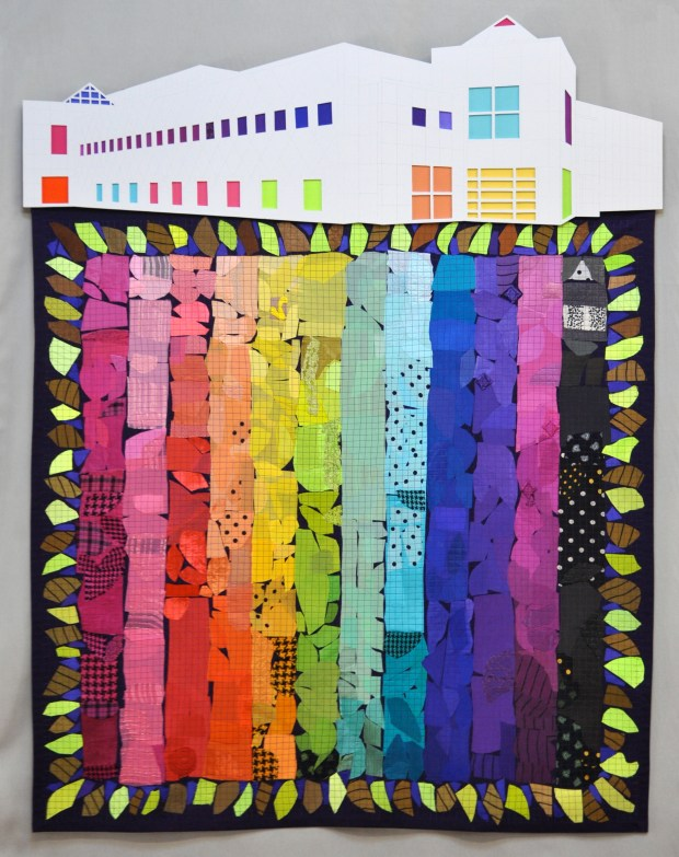 "Minneapolis-based master fabric dyer Marliss Jensen created this quilt, dubbed ""Fallinlove2nite,"" using sample swatches from textiles she custom dyed for Prince from 1985 to 1996. It's one of 24 quilts in the juried exhibit ""Commemorating His Purple Reign: A Textural Tribute to Prince,"" which opens March 9 at Minneapolis' Textile Center."