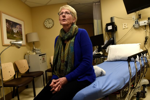 Linda Walther, an RN sexual assault nurse examiner, sits in the special room used just for sexual assault exams at Regions Hospital on Wednesday, Feb. 15, 2017. (Pioneer Press: Jean Pieri)