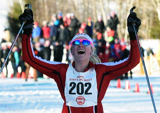 Erin Bianco of Ely celebrates after winning the State title and the 5-kilometer Classical race at the girls' State Nordic Ski Meet at Giant's Ridge in Biwabik, Thursday, Feb. 16, 2017. (Pioneer Press: Scott Takushi)