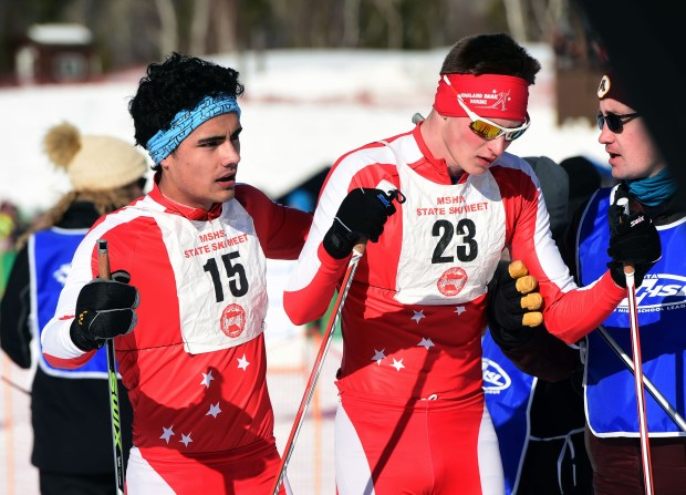 St. Paul Highland Park skiers Harrison Pretel, left, and Gabriel Pfeiffer catch their breath at the end of the the Boys' 5-kilometer Classical race at the State Nordic Ski Meet at Giant's Ridge in Biwabik, Thursday, Feb. 16, 2017.  (Pioneer Press: Scott Takushi)