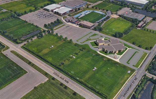 An artist's rendering shows the planned Spring Lake Park school district preK-4 school on the site of the National Sports Center in Blaine, with the Velodrome removed.