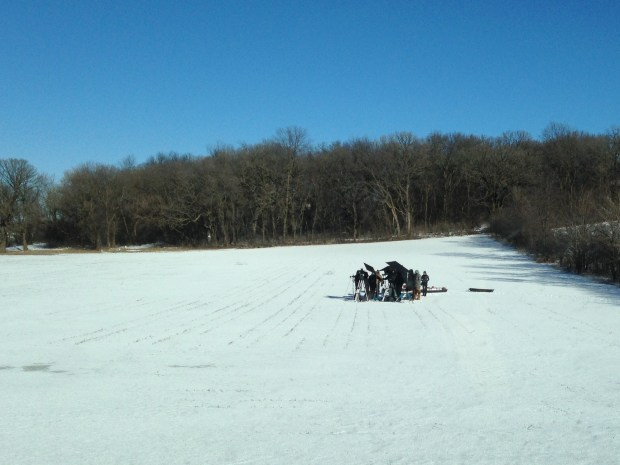 """A snowy field in rural Woodbury was used this week to film a scene for the ABC docudrama series """"20/20: In An Instant."""" (Richard Chin)"""