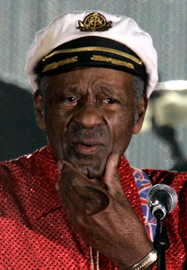 "In this Saturday, March 28, 2009  photo, American guitarist, singer and songwriter Chuck Berry appears at the ""Rose Ball"" in Monaco. On Saturday, March 18, 2017, police in Missouri said Berry has died at age 90. (AP Photo/Lionel Cironneau)"