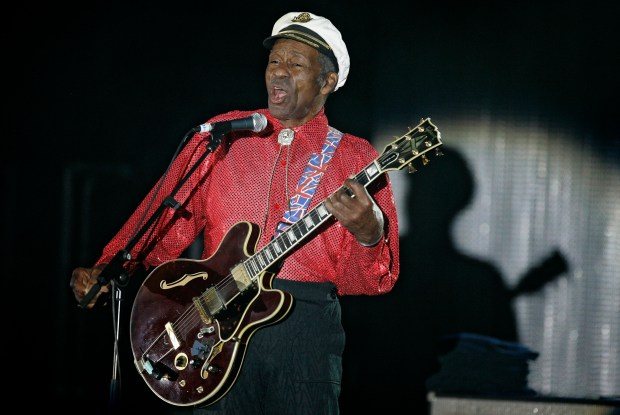 "In this Saturday, March 28, 2009 photo, American guitarist, singer and songwriter Chuck Berry performs during the ""Rose Ball"" in Monaco. On Saturday, March 18, 2017, police in Missouri said Berry has died at age 90. (AP Photo/Lionel Cironneau)"