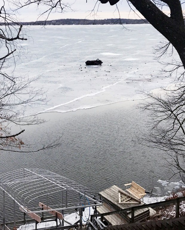 Early Saturday morning, James Sundby of Wadena drive his vehicle over an embankment, cleared open water and came to a rest on Lake L'Homme Dieu. (contributed)