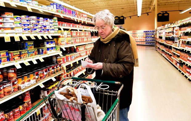 Gloria Grayum of St. Paul, who will miss the Midway area Rainbow grocery store when it closes to make way for the soccer stadium construction, does her shopping Wednesday, March 1, 2017. (Pioneer Press: Scott Takushi)