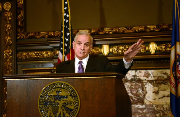 Minnesota Gov. Mark Dayton discusses transportation, health insurance and the work involved with crafting the next two-year budget during a March 22, 2017 news conference at the State Capitol in St. Paul. (Christopher Magan / Pioneer Press)