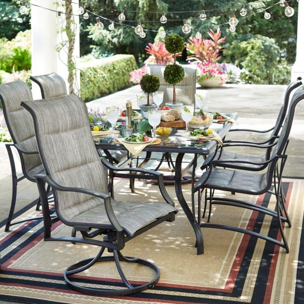 A table that seats at least six people is best for outdoor entertaining.