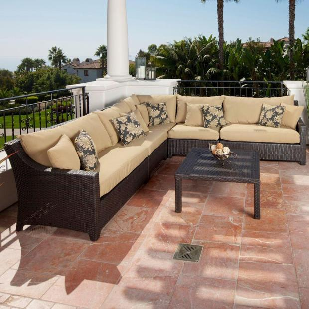 Create your own outdoor retreat by choosing outdoor furniture in plush but functional fabrics and neutral colors and patterns.