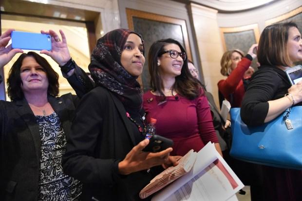 Minnesota House Reps. Cheryl Youakim, Ilhan Omar and Erin Maye Quade