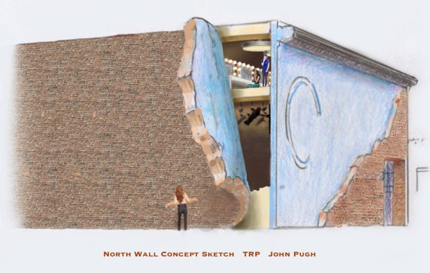 The mural on the north wall of the TRP building will look like the brick has been peeled back.