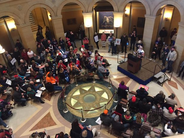 Supporters of President Donald Trump gather in the rotunda of the Minnesota State Capitol on Saturday afternoon, March 4, 2017. Protesters tried to disrupt the day's events and six were arrested. (Will Ashenmacher / Pioneer Press)
