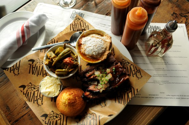St. Paul's new Southern food mecca Revival, at 525 Selby Ave., serves up tender brisket with cornbread and side orders of stewed okra and candied yams on Wednesday, March 1, 2017. (Pioneer Press: Ginger Pinson)