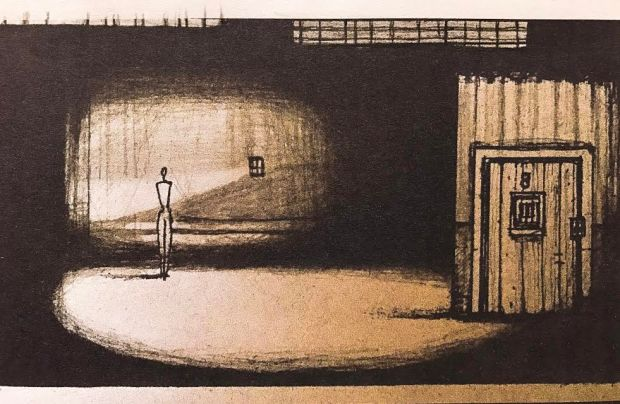 """A sketch for one of the backdrops in """"Titicut Follies, the Ballet."""" (Steven Rydberg/James Sewell Ballet)"""