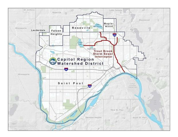 The Trout Brook Storm Sewer System runs 6.5 miles through St. Paul, leading three branches of underground tunnels to the Mississippi River. The Capitol Region Watershed District acquired the storm sewers from the Metropolitan Council in 2006. Photo courtesy of Capitol Region Watershed District.