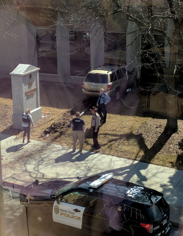 A driver struck the side of the state administration building then left the scene on Tuesday, April 28, 2017, as seen from the Education Minnesota building. (Photo courtesy Chris Williams)