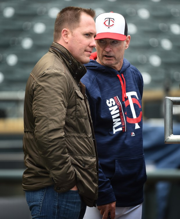 Executive Vice President/Chief Baseball Officer Derek Falvey, left, and manager Paul Molitor talk as the Minnesota Twins practice a day before the season opener at Target Field in Minneapolis, April 2, 2017. Scott Takushi / St. Paul Pioneer Press