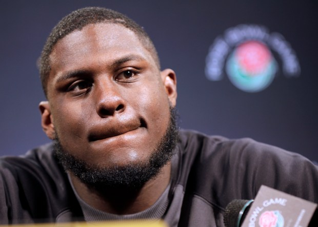 Defensive tackle Jaleel Johnson for the University of Iowa talks to reporters during a news conference in Los Angeles, Sunday, Dec. 27, 2015. Iowa is scheduled to play Stanford in the Rose Bowl NCAA college football game on New Year's Day. (AP Photo/Nick Ut)