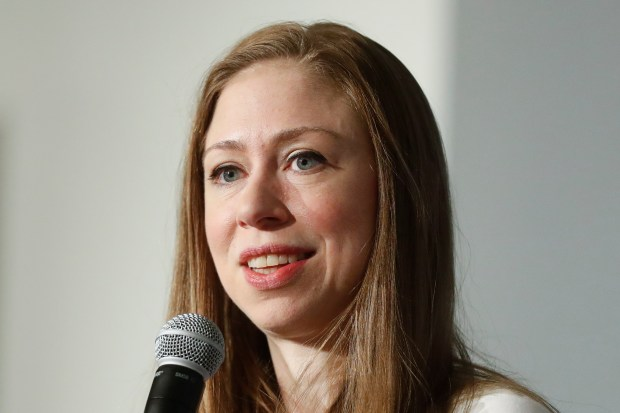 In this Oct. 26, 2016 photo, Chelsea Clinton speaks in Cincinnati. Chelsea Clinton says she doesn't have her sights on running for a public office, and has no intention of running against President Donald Trump in the next election. (Associated Press/John Minchillo)