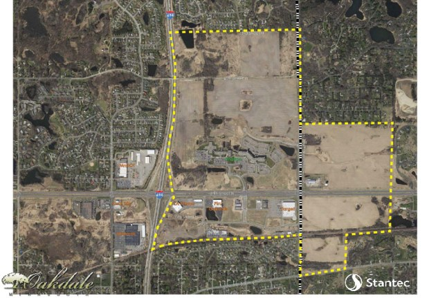 A 206-acre parcel owned by the 3M Co. near Interstate 694 and 34th Street in Oakdale will become one of the biggest residential developments in Oakdale's history, city officials announced in April 2017. The land swoops around an Oakdale icon -- the former Imation campus. (Courtesy of the City of Oakdale)
