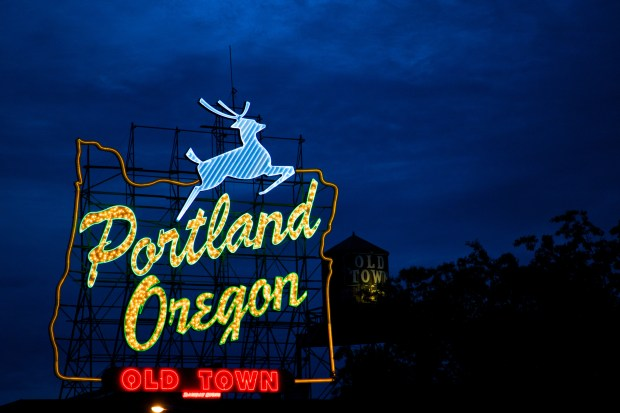 The iconic white stag sign became a City of Portland historic landmark in 1977.