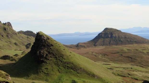 The jagged rock formations in the Quiraing on the Isle of Skye in Scotland. (Courtesy of Lorrie Holmgren)