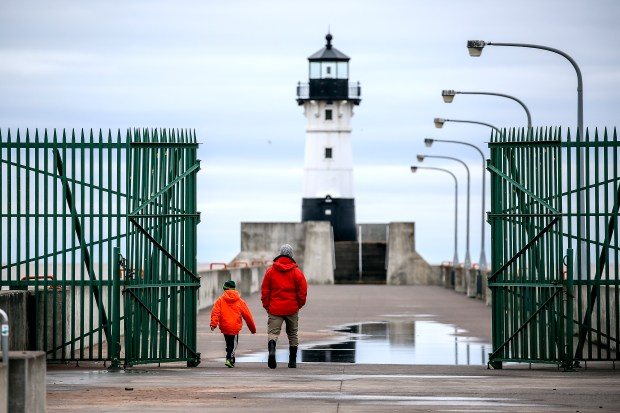 April 30, 2017, was the 50th anniversary of a storm in Duluth, Minn., that drowned four people -- three brothers went out onto the pier and were swept off the north pier by the waves, and one of the three Coast Guard members who attempted to rescue them also drowned. As a result these gates were installed to keep people off the piers in stormy weather. (Clint Austin / Forum News Service)