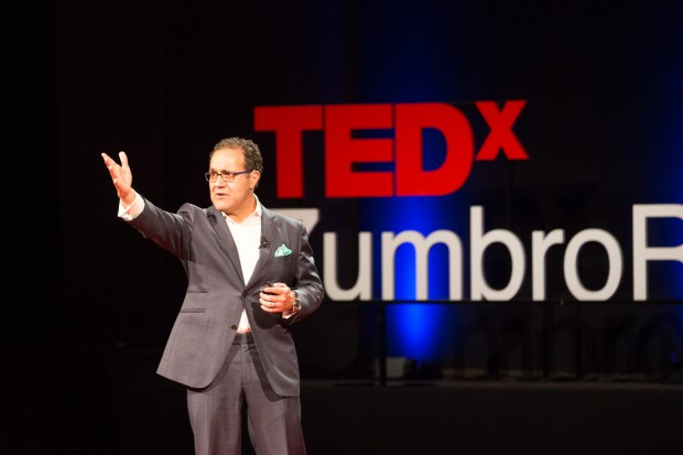 Dr. Alfredo Quinones-Hinojosa, pictured here during a TED presentation Thursday in Rochester, MN, is chair of Neurologic Surgery at the Mayo Clinic complex in Jacksonville, Fl. His journey from undocumented migrant worker to Harvard graduate and brain surgeon is being made into a movie. (Courtesy of TEDxZumbroRiver)