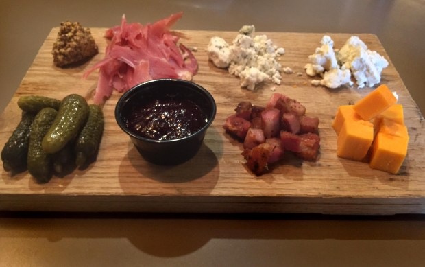 Artisan Meat and Cheese Board at Stone Tap in Hudson, Wis., photographed May 10, 2017. (Nancy Ngo / Pioneer Press)