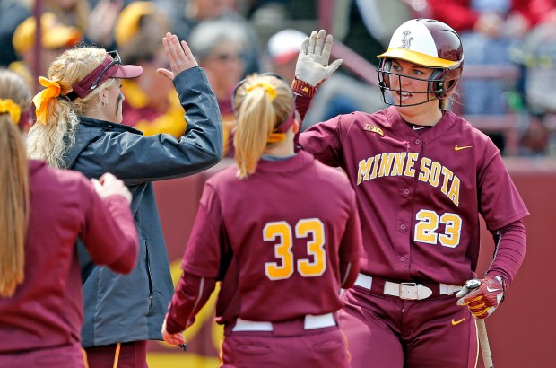 Minnesota's Kendyl Lindaman (23) in action against Purdue during a college women's softball doubleheader at Jane Sage Cowles Stadium in Minneapolis on Saturday, April 29, 2017. (Eric Miller / University of Minnesota Athletics)