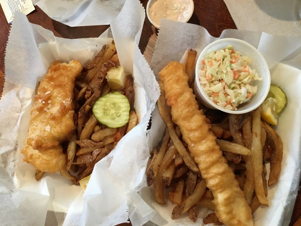 Mac's Fish and Chips walleye, left, and halibut. (Jess Fleming / Pioneer Press)
