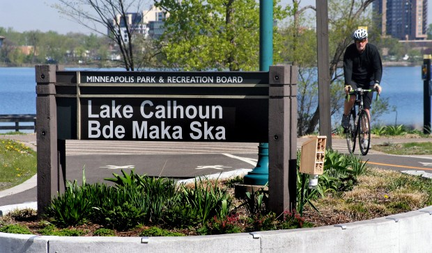 Lake Calhoun on Friday, May 5, 2017. The Minneapolis Park and Recreation Board voted May 3 to support restoring the Dakota name Bde Maka Ska, which means White Earth Lake, to Lake Calhoun. (Tim Whitecotton / Pioneer Press)