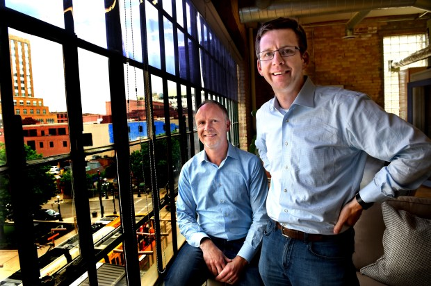Chip House, left, and Scott Burns are co-founders of Structural in St. Paul Friday, May 12, 2017. Burns is a tech entrepreneur who is starting his second downtown-based startup. (Jean Pieri / Pioneer Press)
