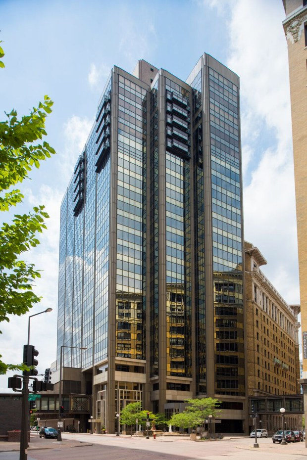 Undated courtesy photo of Landmark Towers in downtown St. Paul. The 25-story, multi-use building was built in 1982 and is for sale. (Courtesy of CBRE Group, Inc.)