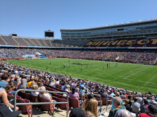 Fans at TCF Bank Stadium in Minneapolis watch as Minnesota United FC faces Sporting Kansas City in a Major League Soccer match on May 7, 2017. Minnesota won the match 2-0. (Pioneer Press / Joe Bissen)