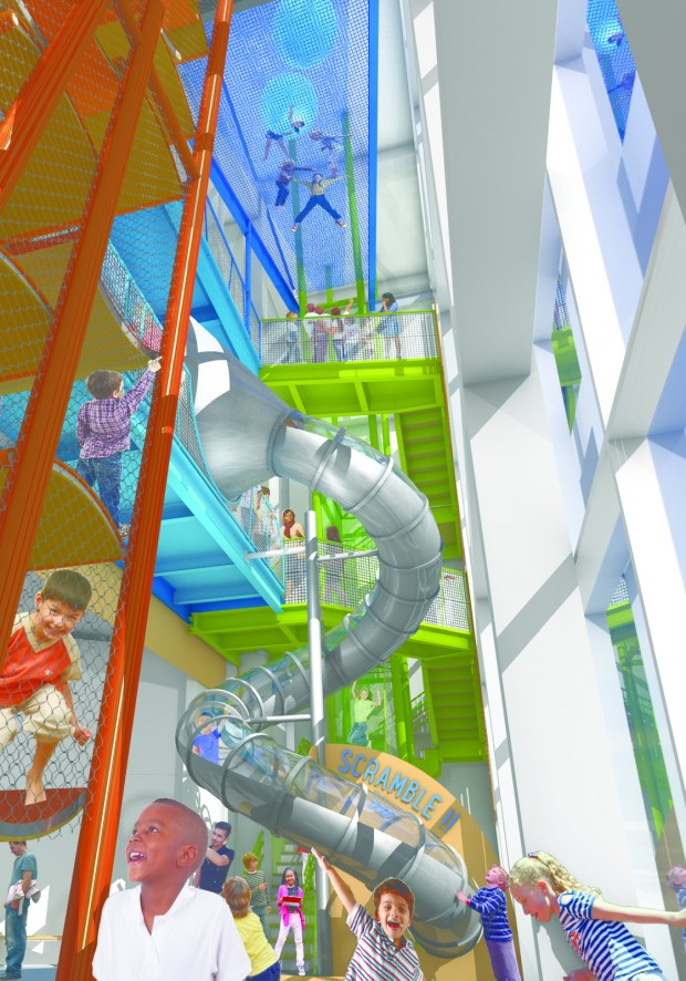 """A rendering shows the Scramble, a four-story """"vertical adventure"""" with climbing towers, a spiral slide and a netted catwalk suspended more than 40 feet high. (Courtesy of Minnesota Children's Museum)"""