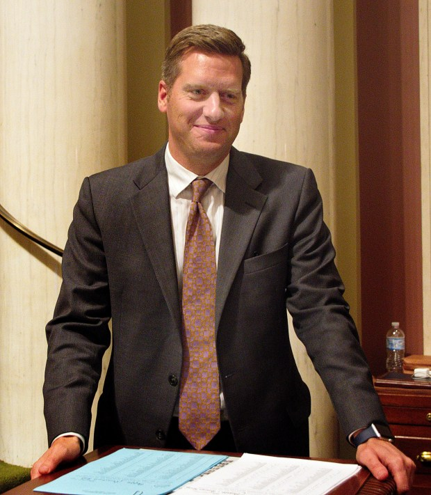 Minnesota House Speaker Kurt Daudt smiles after a special legislative session ended in the wee hours of Friday, May 26, 2017. He declared the session a success. (Don Davis / Forum News Service)