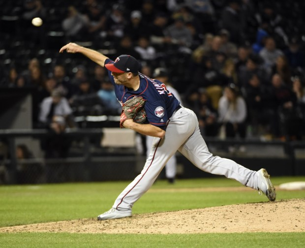 Minnesota Twins relief pitcher Brandon Kintzler throws against the Chicago White Sox during the ninth inning of a baseball game, Thursday, May 11, 2017, in Chicago. The Twins won 7-6. (AP Photo/David Banks)