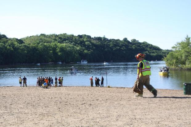 Authorities found the body of 19-year-old Jeffery Arkis Taylor in the St. Croix River June 6, 2017, about an hour after he was seen struggling while attempting to swim from the dike to a nearby island. (Maureen McMullen / Forum News Service)