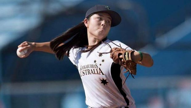 Golden Valley native Emma Charlesworth-Seiler pitches for Australia during the Taiwan International Women's Baseball Tournament November 2016. Charlesworth-Seiler umpiree her first professional baseball game on May 15, 2017 at CHS Field, an exhibition game between the St. Paul Saints and the Fargo-Moorhead RedHawks. She will be umpiring in the Class A Gulf Coast League starting in June. (Courtesy of Takumi Photography)