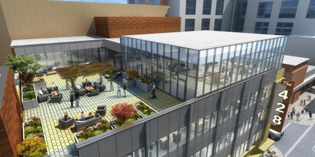 The former Woolworth building at 428 Minnesota St. in downtown St. Paul is being converted into The 428, a five-level office structure with a rooftop open-air patio. (Courtesy of Commercial Real Estate Services)